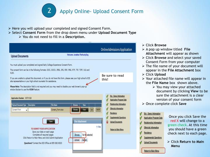 Apply Online- Upload Consent Form