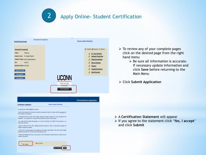 Apply Online- Student Certification
