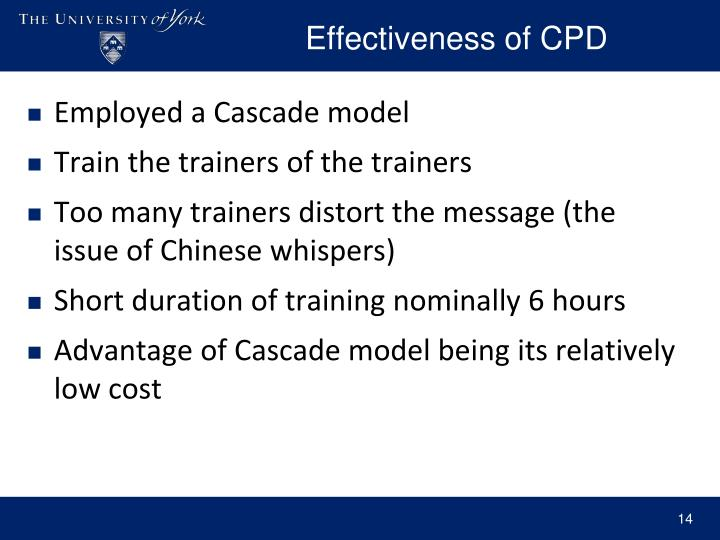 Effectiveness of CPD
