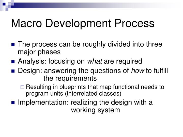 Macro development process