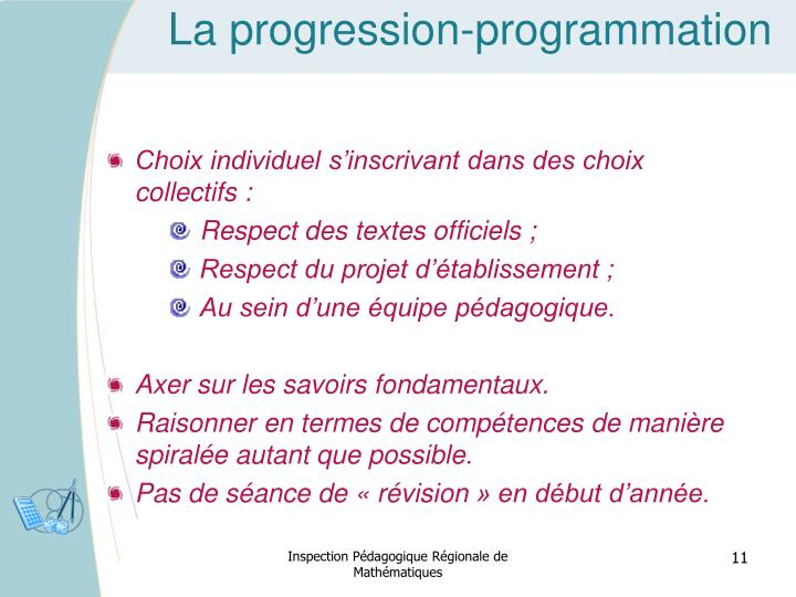 La progression-programmation