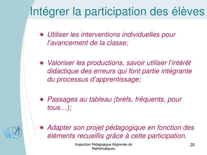 Intégrer la participation des élèves