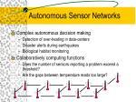 autonomous sensor networks1