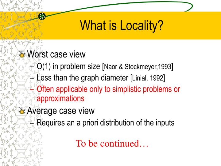 What is Locality?