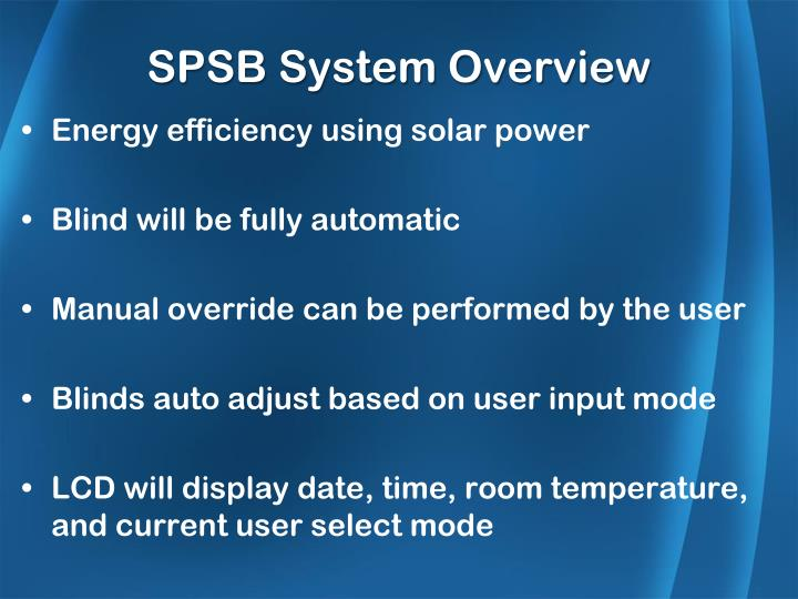 SPSB System Overview
