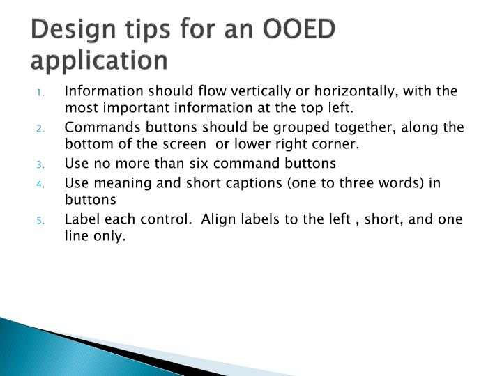 Design tips for an OOED application