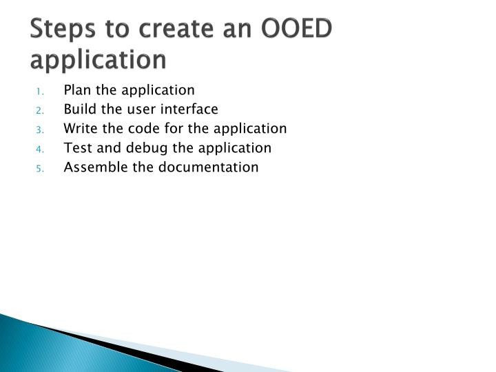 Steps to create an OOED application