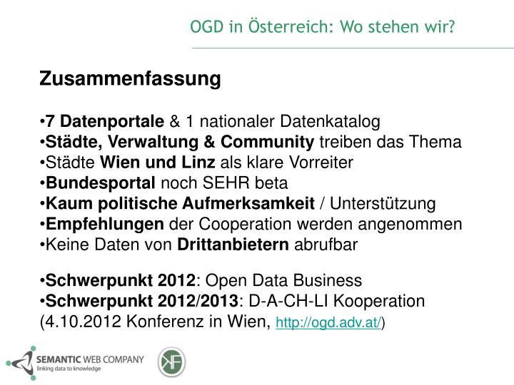 OGD in Österreich: Wo stehen wir?