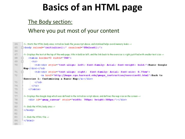 Basics of an HTML page
