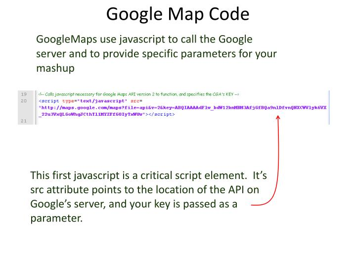 GoogleMaps use javascript to call the Google server and to provide specific parameters for your mashup