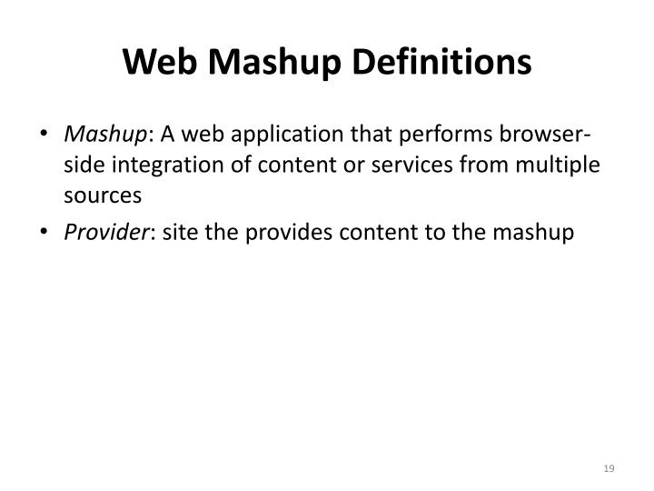 Web Mashup Definitions