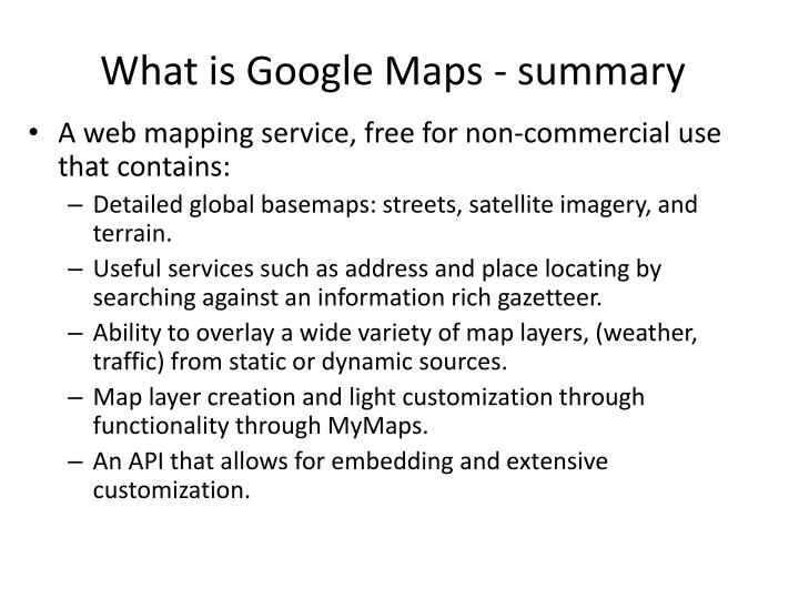 What is Google Maps - summary