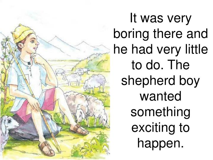 It was very boring there and he had very little to do. The shepherd boy wanted something exciting to happen.