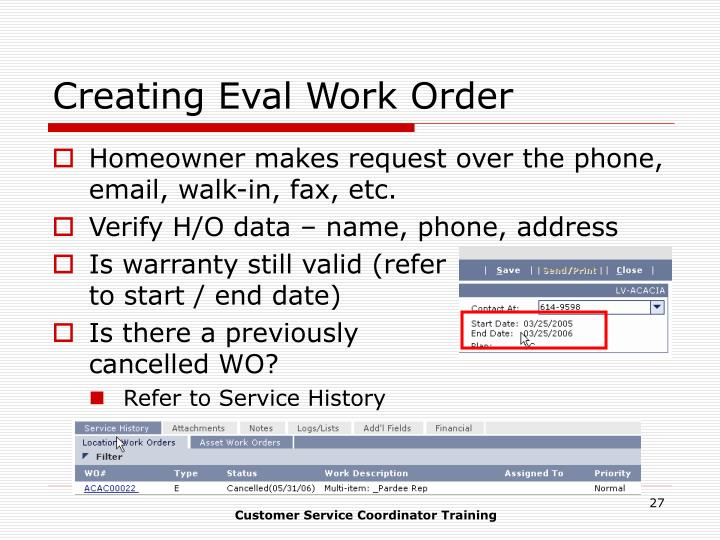 Creating Eval Work Order