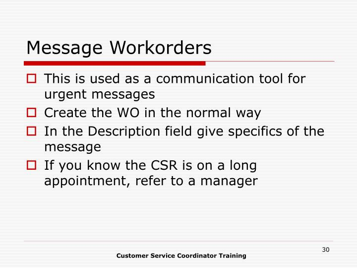 Message Workorders