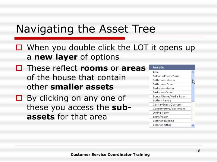 Navigating the Asset Tree
