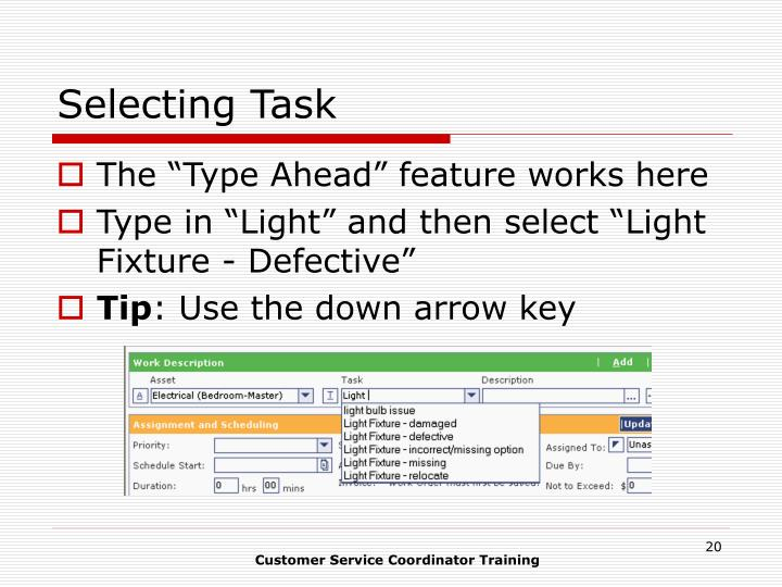 Selecting Task