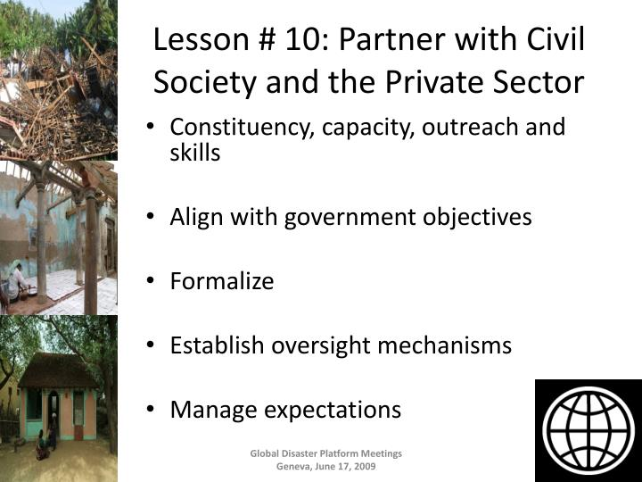 Lesson # 10: Partner with Civil Society and the Private Sector