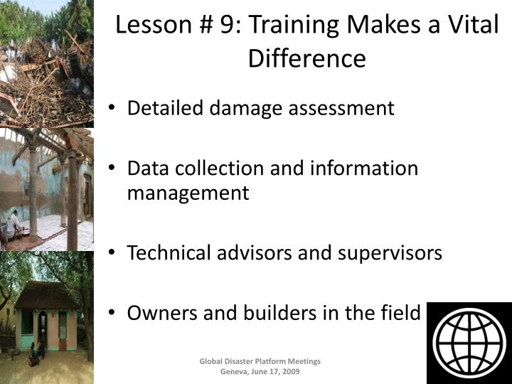 Lesson # 9: Training Makes a Vital Difference