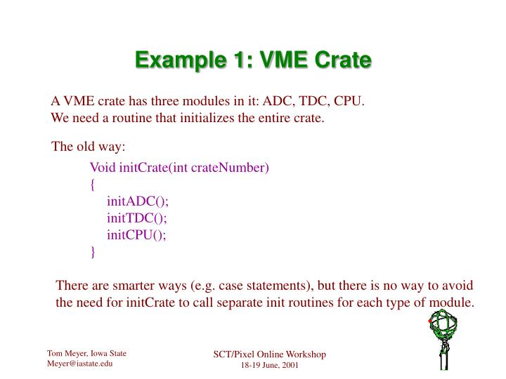 Example 1: VME Crate