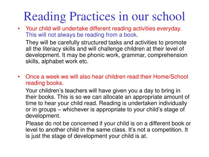 Reading practices in our school