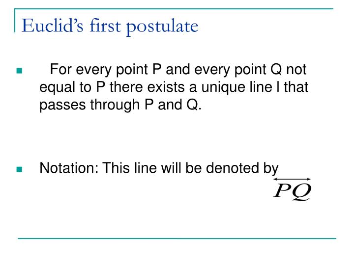 Euclid's first postulate