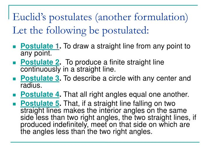Euclid's postulates (another formulation)
