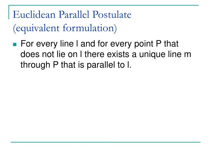 Euclidean Parallel Postulate