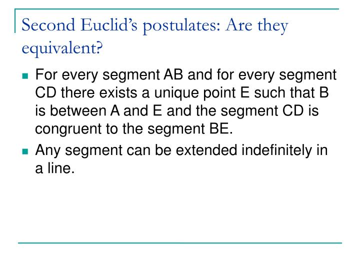 Second Euclid's postulates: Are they equivalent?