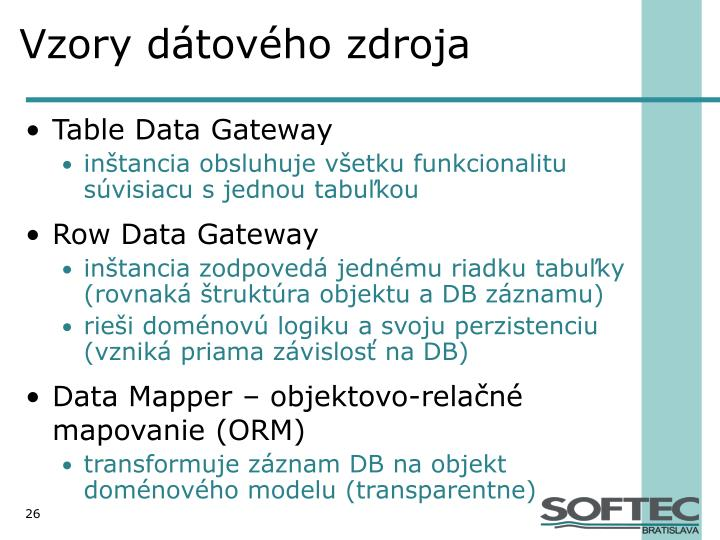 Vzory dátového zdroja