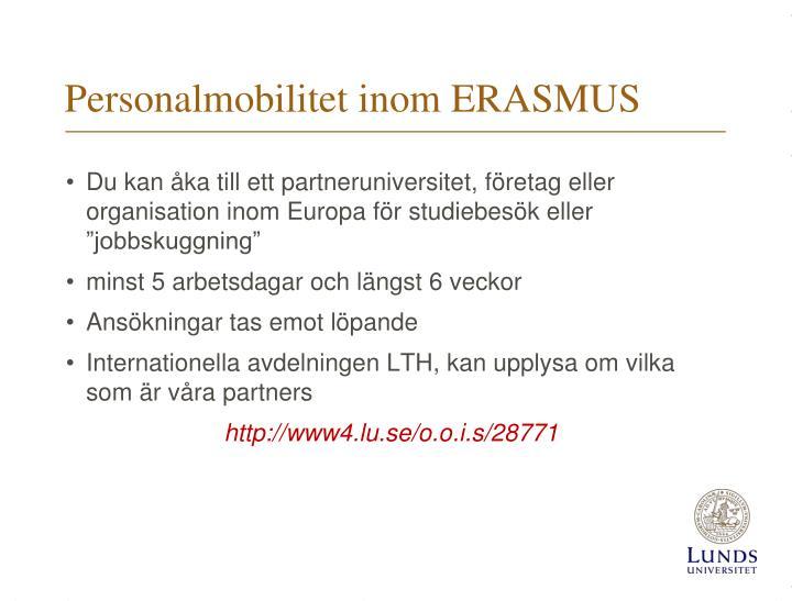 Personalmobilitet inom ERASMUS