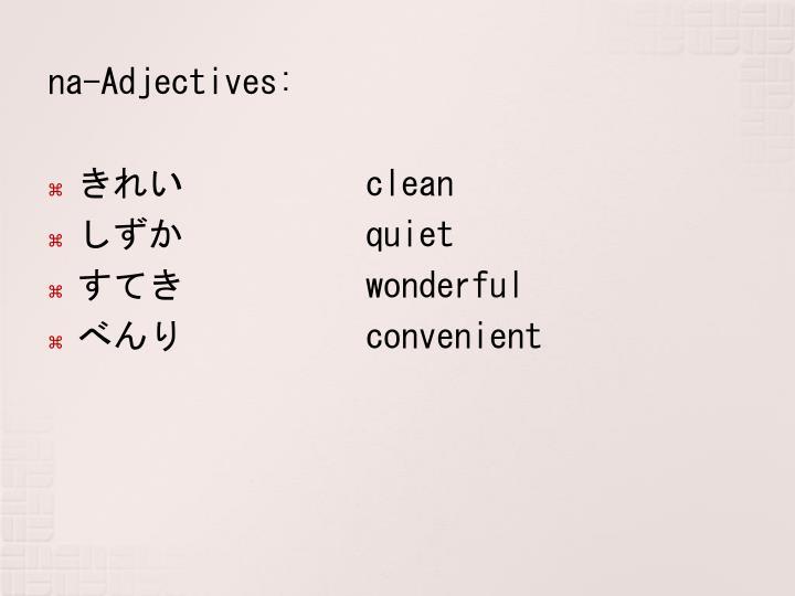 na-Adjectives: