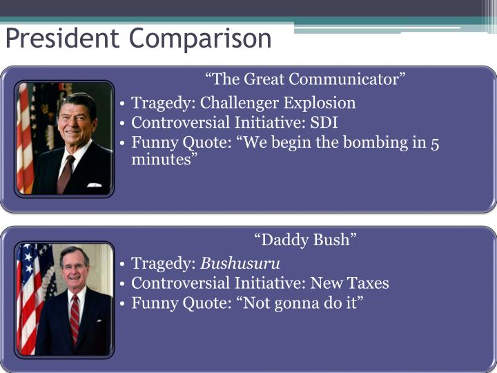 comparing and contrasting the reagan and bush presidencies In this compare and contrast essay i will be comparing and contrasting two presidents the two presidents i decided to choose is george w bush and bill clinton.