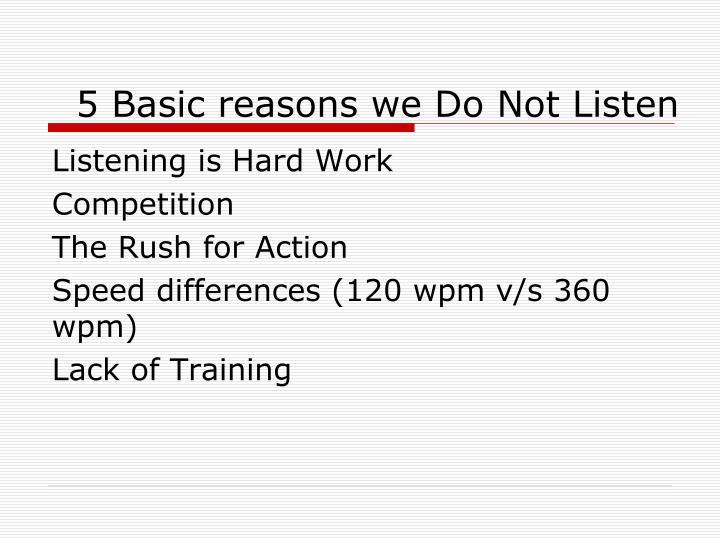 5 Basic reasons we Do Not Listen