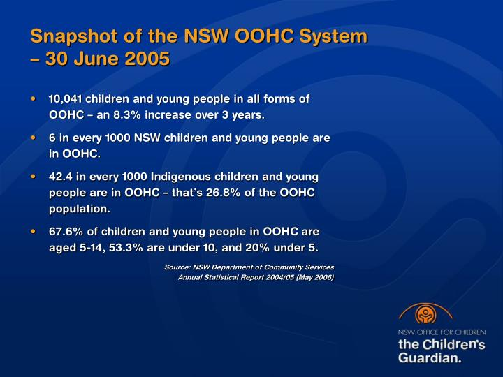 Snapshot of the NSW OOHC System