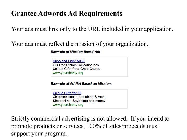 Grantee Adwords Ad Requirements