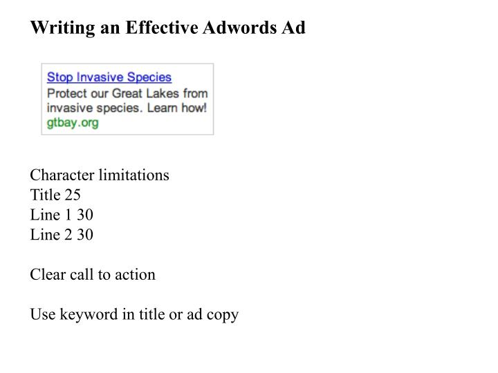 Writing an Effective Adwords Ad