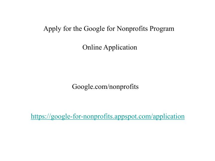 Apply for the Google for Nonprofits Program