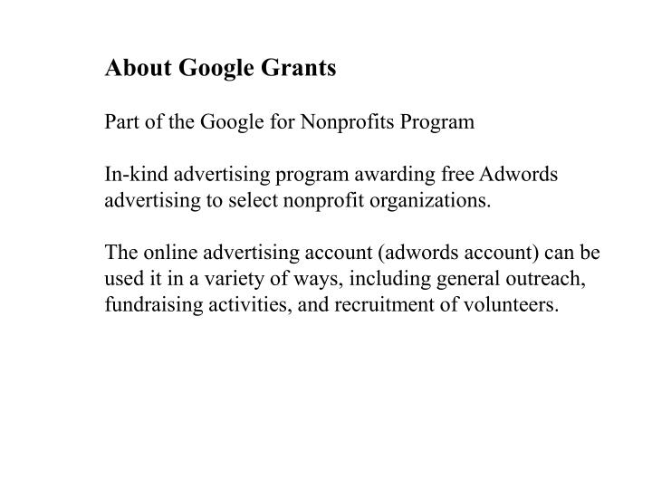 About Google Grants