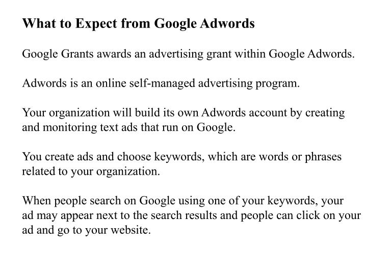 What to Expect from Google Adwords