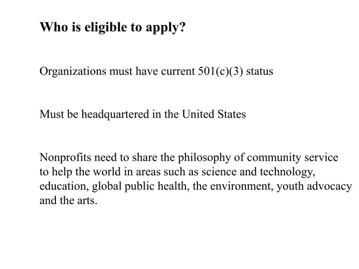 Who is eligible to apply?