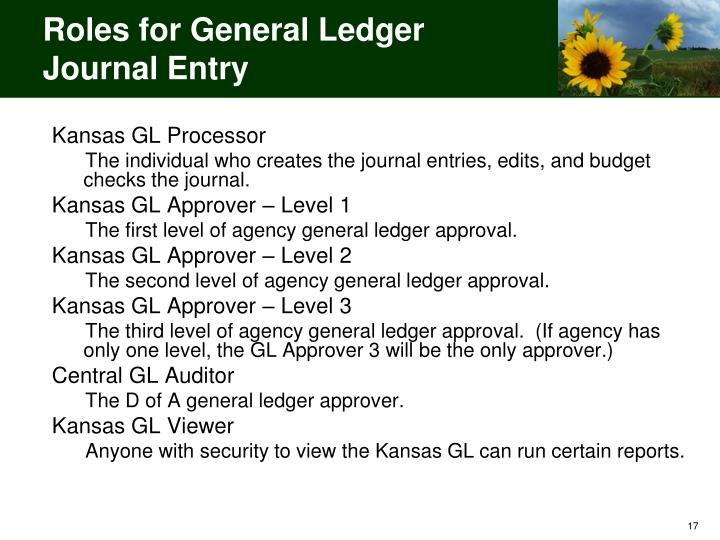 Roles for General Ledger Journal Entry
