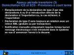 aper u p riode transitoire 3 domiciliation ics et ecs pr visions court terme