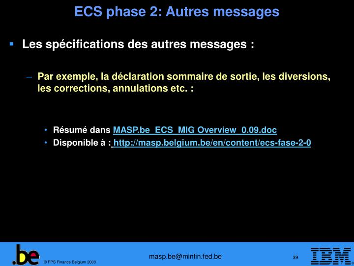 ECS phase 2: Autres messages