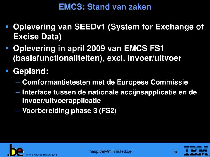 EMCS: Stand van zaken