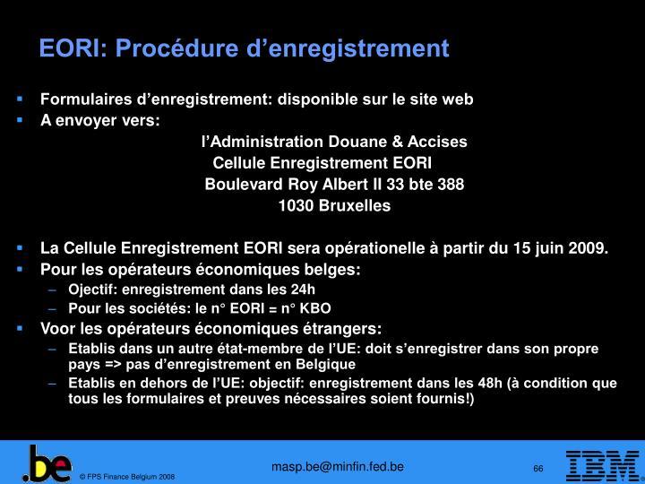 EORI: Procédure d'enregistrement
