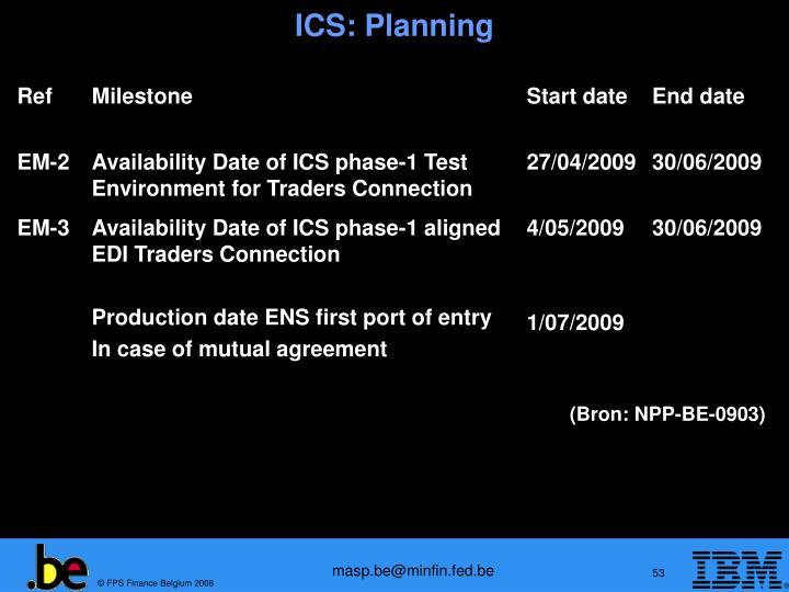ICS: Planning