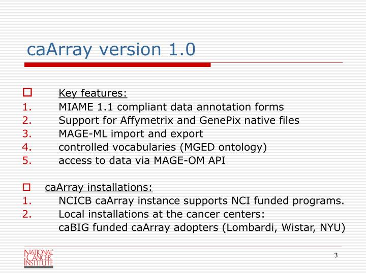 caArray version 1.0