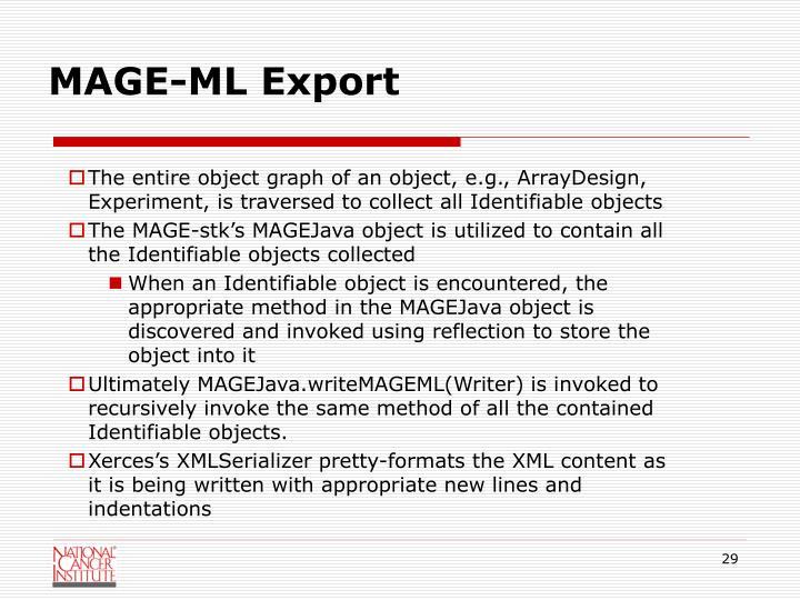 MAGE-ML Export