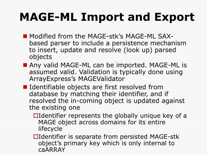 MAGE-ML Import and Export